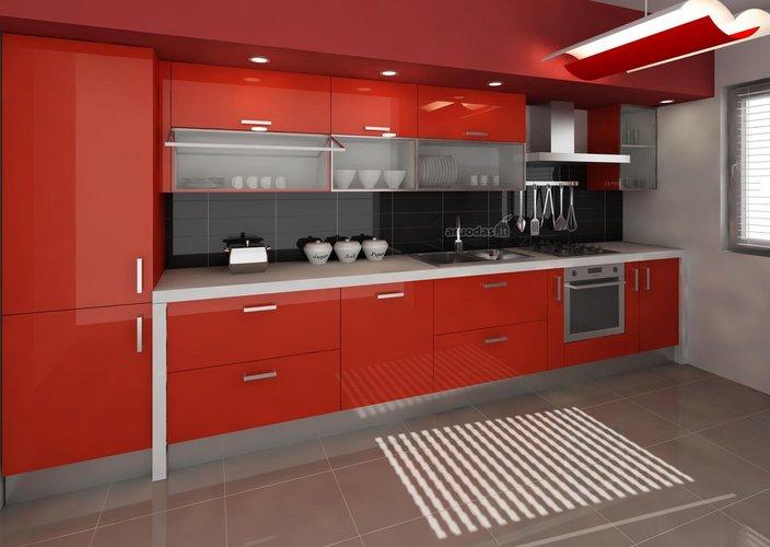 Ryški, raudona virtuvė