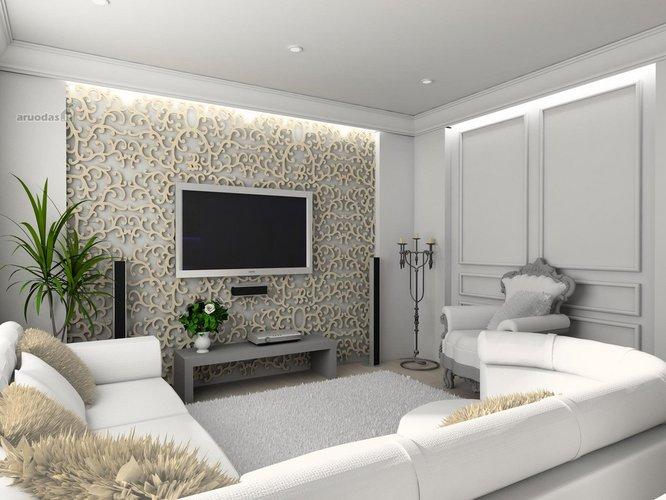 Balta spalva ir originalios tekstūros siena
