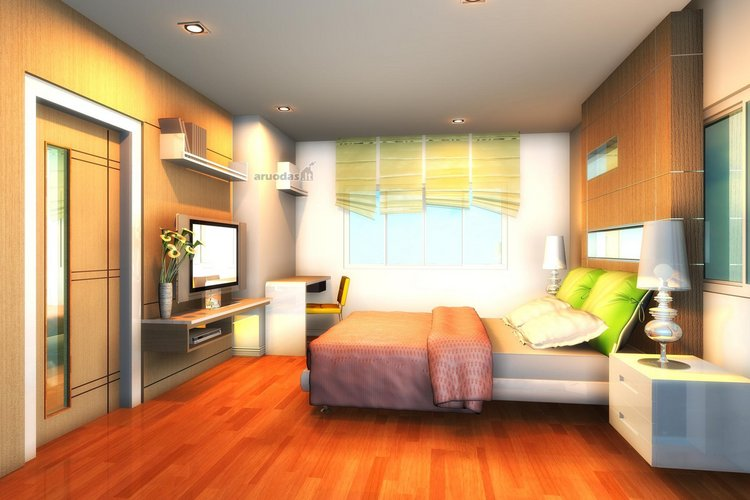 Spalvoto miegamojo dizainas