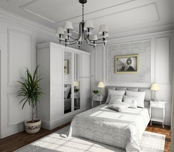 Modernaus, balto miegamojo dizainas