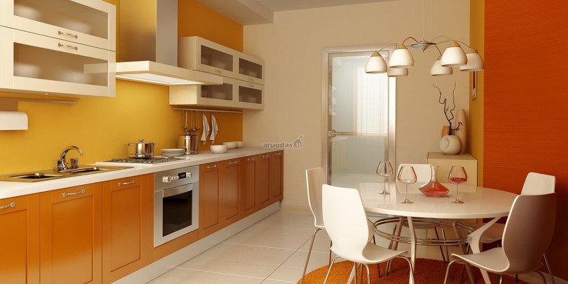 Geltona virtuvės interjere