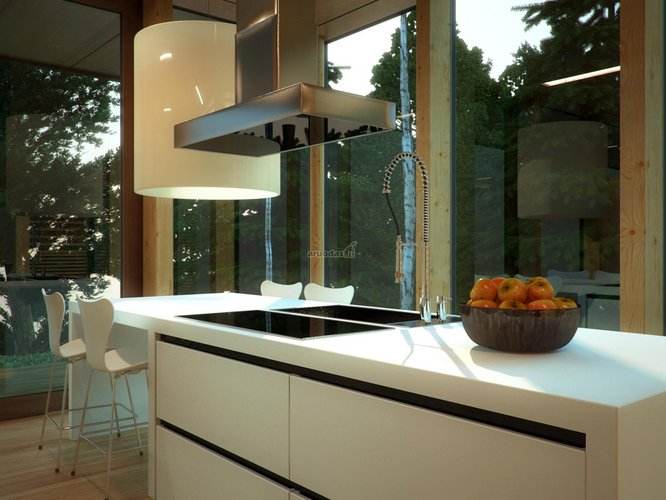 Stiklinės sienos virtuvėje