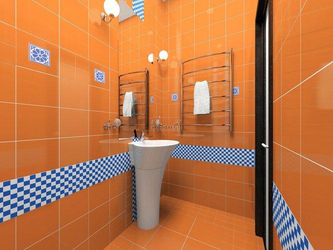 Mėlynais ir baltais kvadratėliais išryškintos sienos