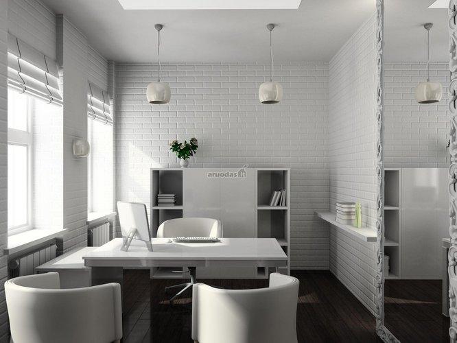 Visisškai baltas biuro/darbo kambarys