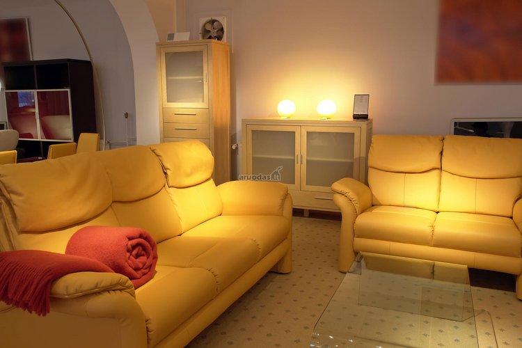 Geltonos sofos baltoje svetainėje