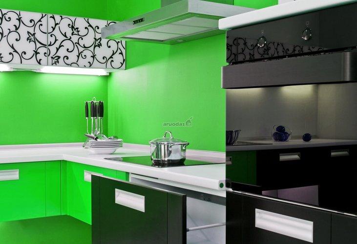 žalia - juoda virtuvės interjeras