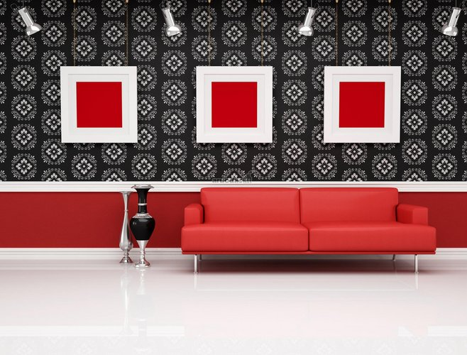 Raudona - juoda - balta interjeras