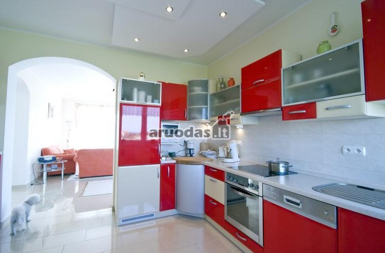 Balta - raudona virtuvės interjeras
