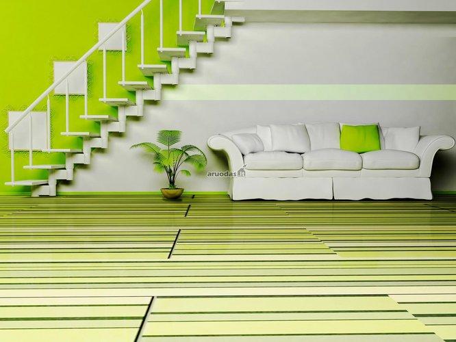 žalia - balta interjeras