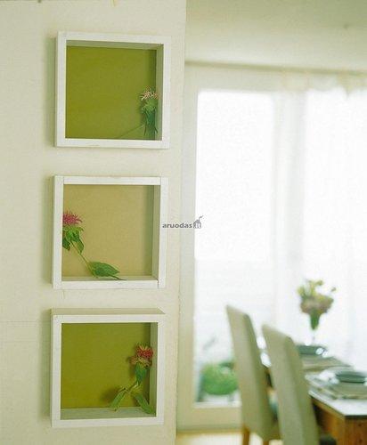 žalias akcentas kambaryje