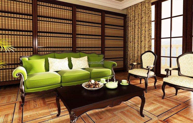 žalia sofa svetainės interjere