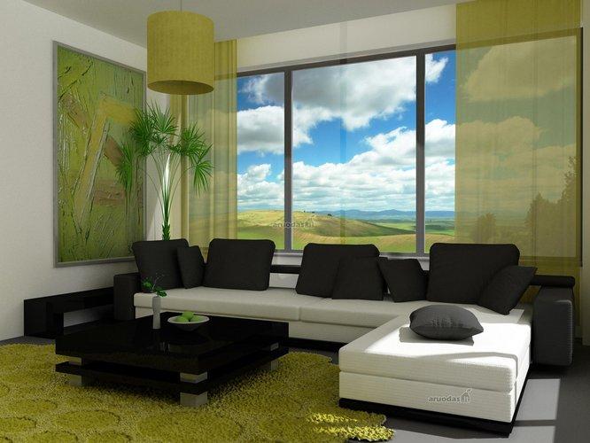 žalios ir juodos derinys svetainės dizaine