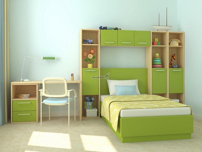 žalia spalva vaiko kambariui
