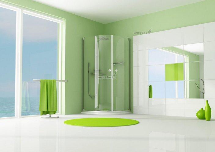 žalias akcentas baltame vonios kambaryje