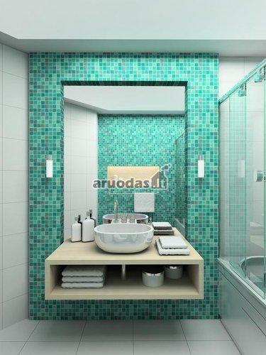 žalių kvadratėlių vonios kambario siena