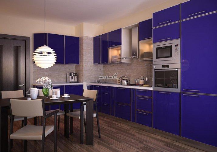 Ryškiai mėlynos virtuvinės spintelės