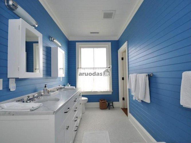 mėlyna - balta vonios kambario interjeras