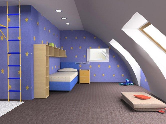 Nakties dangaus mėlynumas vaiko kambaryje