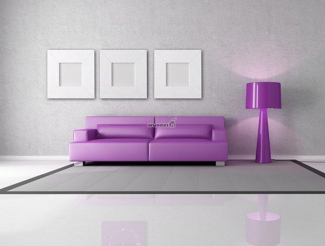 Violetinė sofa nespalvotoje svetainėje
