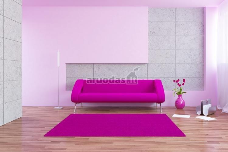 Violetinė sofa ir kilimas - ryškus akcentas