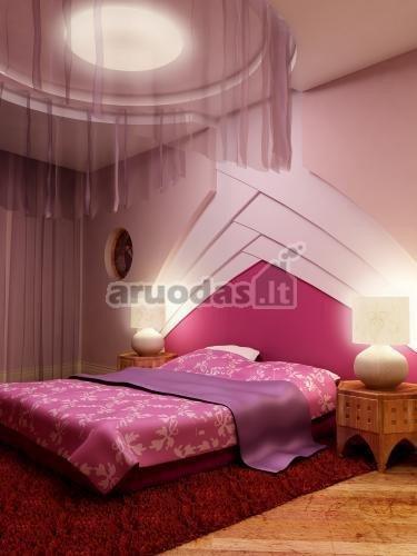 Violetinis miegamojo dizainas