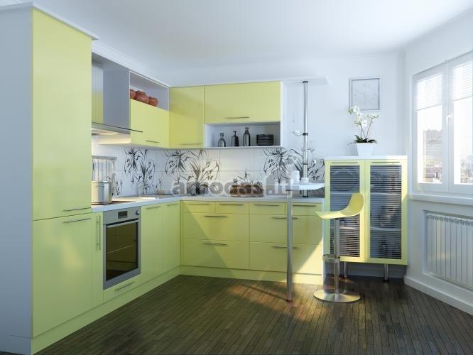 Geltonos spintelės baltoje virtuvėje