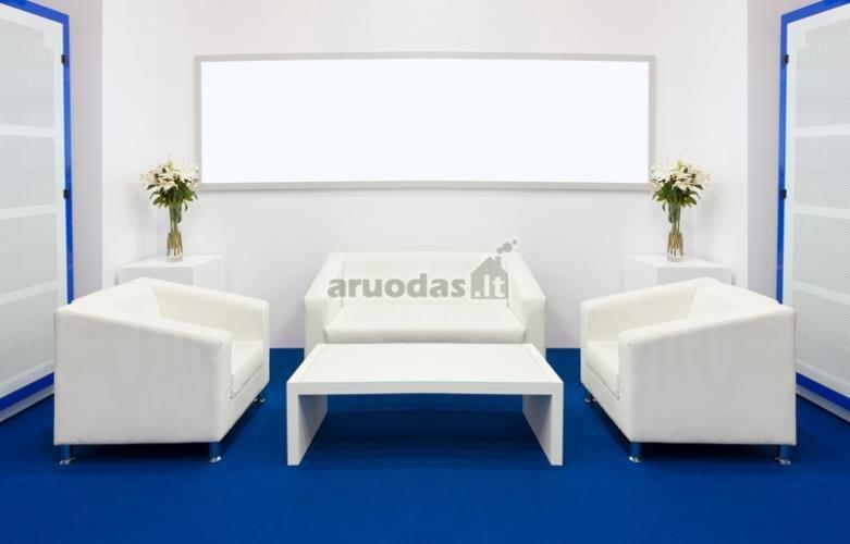 Ryškiai mėlynos grindys baltame interjere