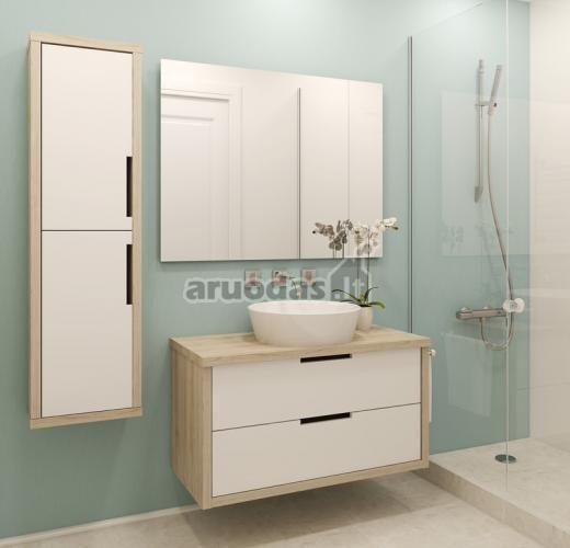 Pastelinės spalvos vonios interjere