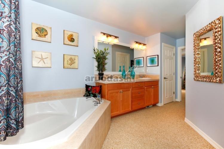Melsvos vonios kambario sienos