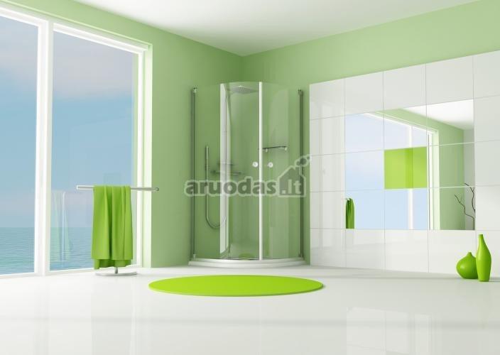 žalia kaip akcentas vonios kambaryje