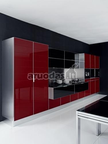 Juoda - raudona - balta moderni virtuvė