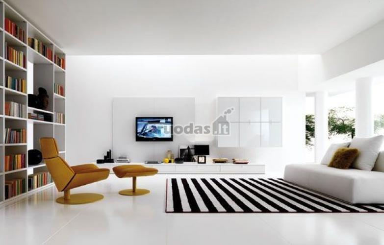 Baltas interjeras, paryškintas juodais akcentais