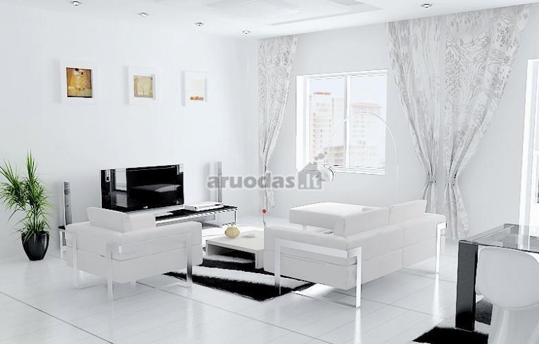Balta svetainė su keletu juodų akcentų