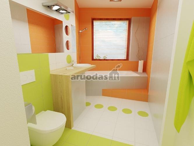 Balta - oranžinė - ža;ia vonios kambarys