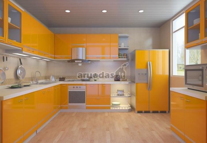 šviesiai oranžinės virtuvinės spintelės