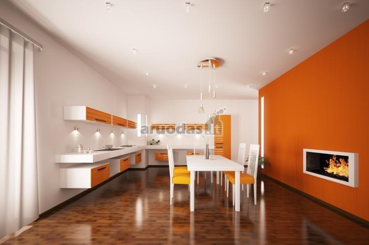 Oranžinis akcentas modernioje virtuvėje