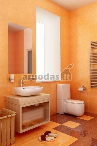 Oranžinė su ruda vonios kambaryje