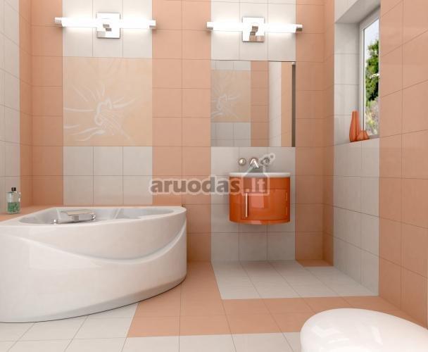 Rausva - balta vonios kambario interjeras