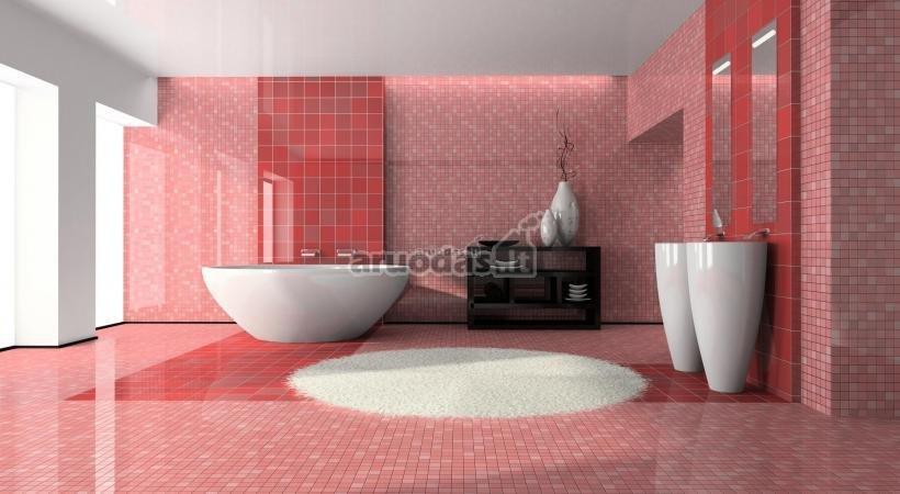 Rožinė - balta vonios kambarys