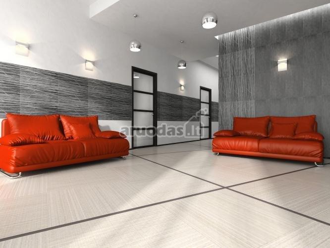 Pilkas interjeras, pagyvintas dviem ryškiomis sofomis