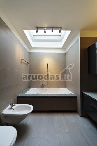 Pilkų atspalvių vonios kambarys