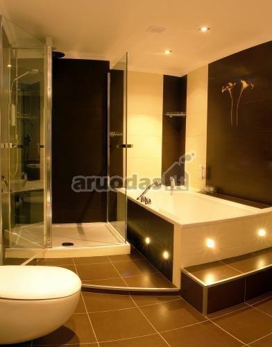 Rudos grindys vonios kambario interjere