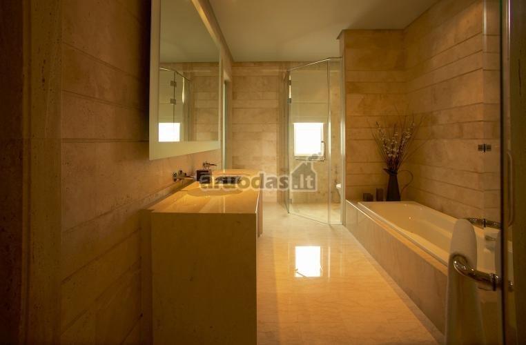 Blausiai rusvas vonios kambarys