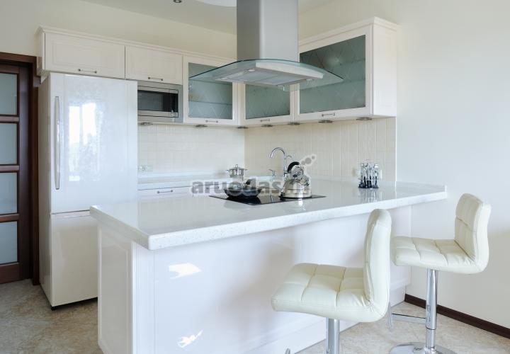 Baltas virtuvės interjeras