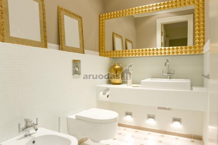Auksiniais rėmeliais išryškinta balta vonia