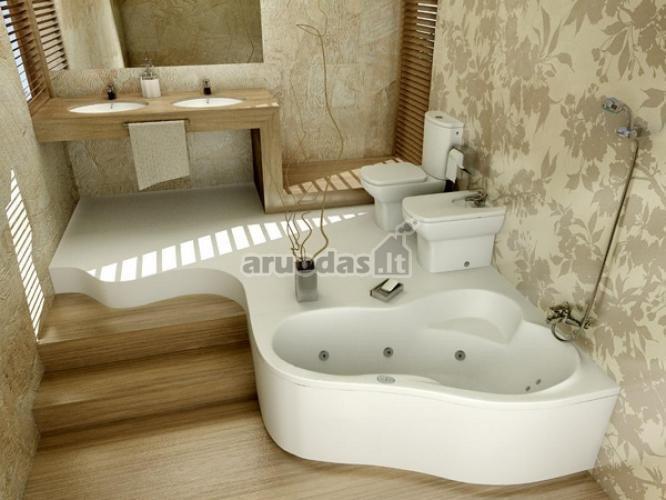 Mediniai akcentai vonios kambario interjere