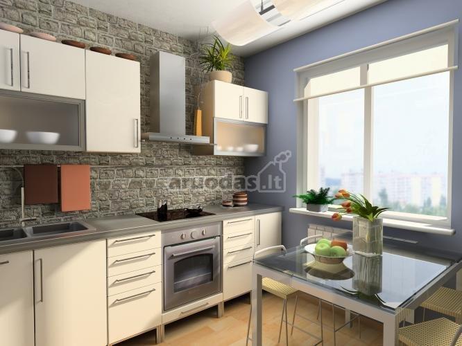 Plytų tekstūra virtuvėje