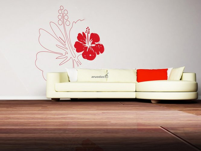 Baltos sienos dekoras su raudonu akcentu