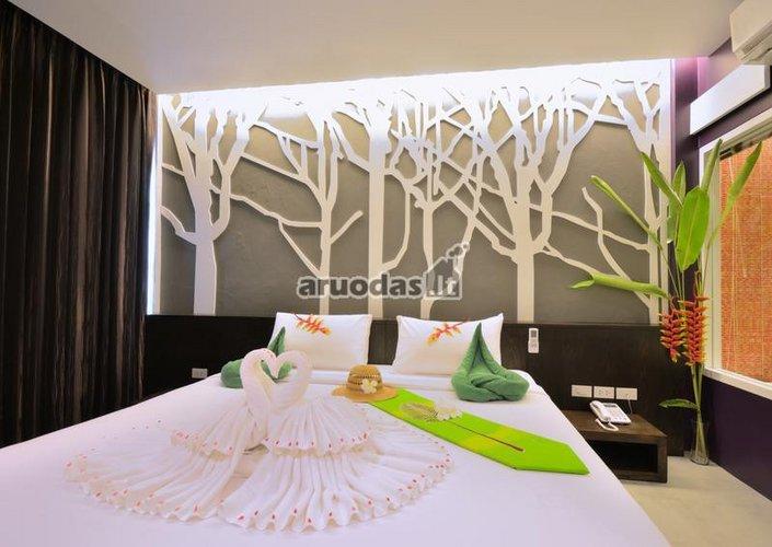 Sienos dekoruotos baltais medžiais