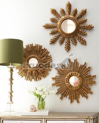 Saulės formos veidrodžiai, sienų dekoro idėjos